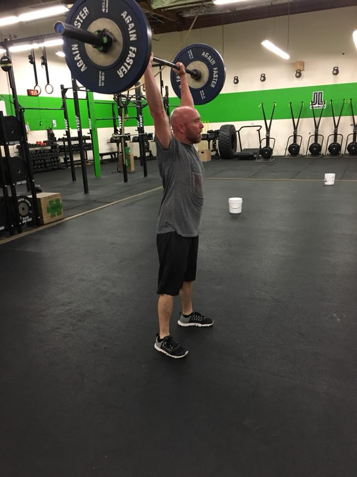 Steve keeping his midline stable during an intense workout
