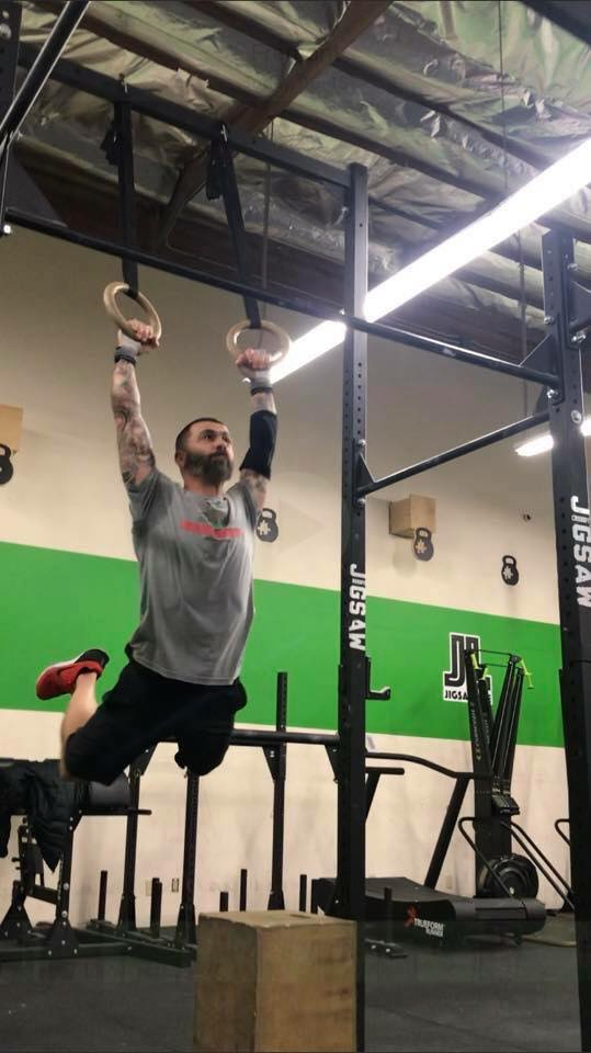Andrew working on his swings for a Muscle Up