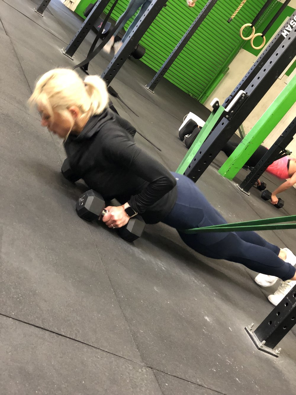 Christina working on her pressing strength
