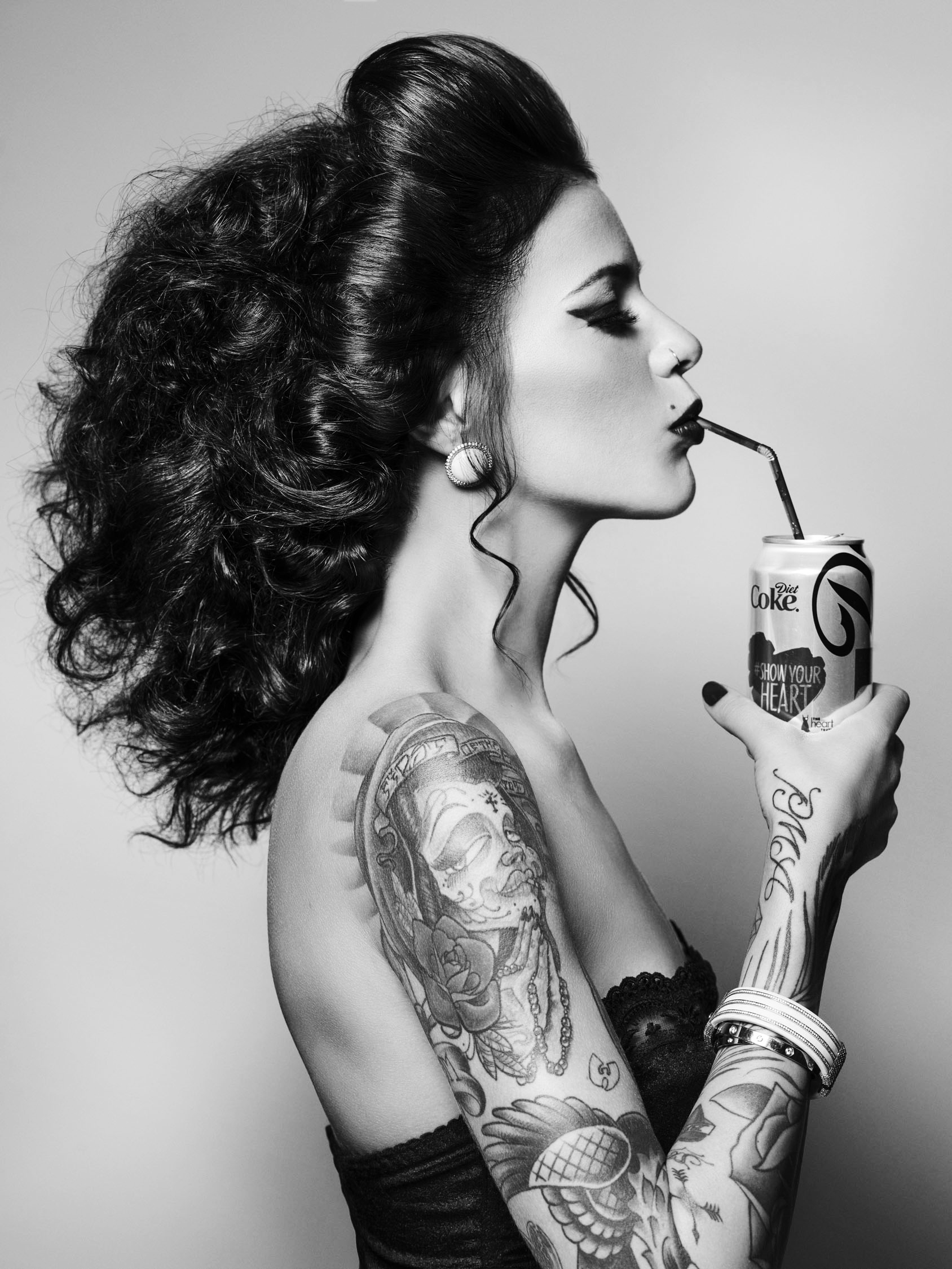 tattooed model whitney black and white