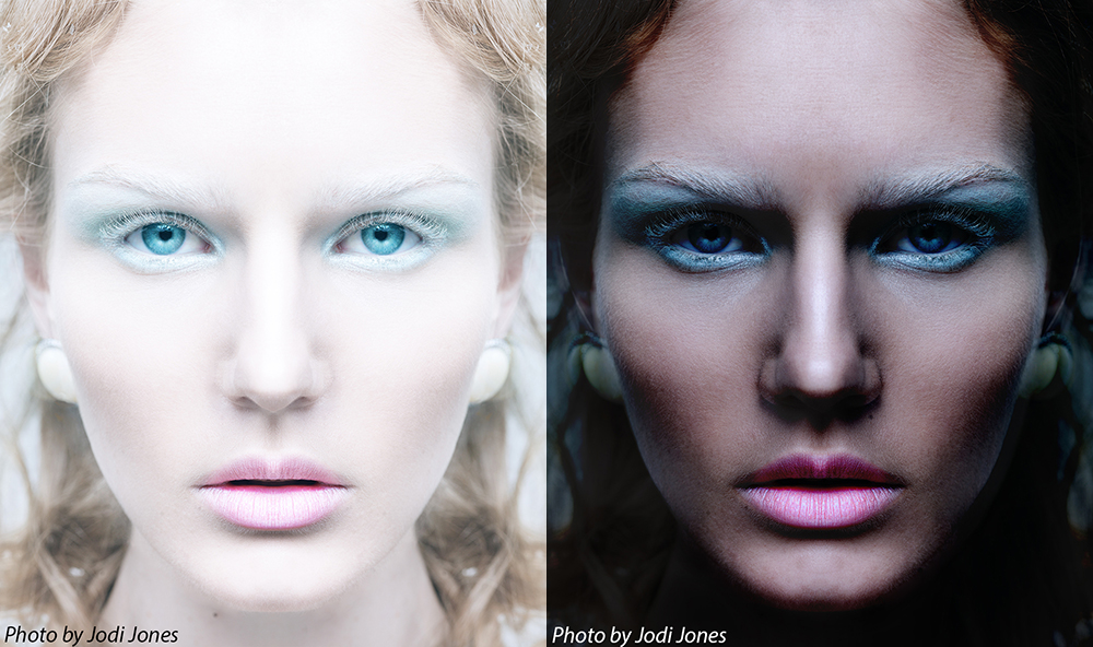 light vs dark beauty shot