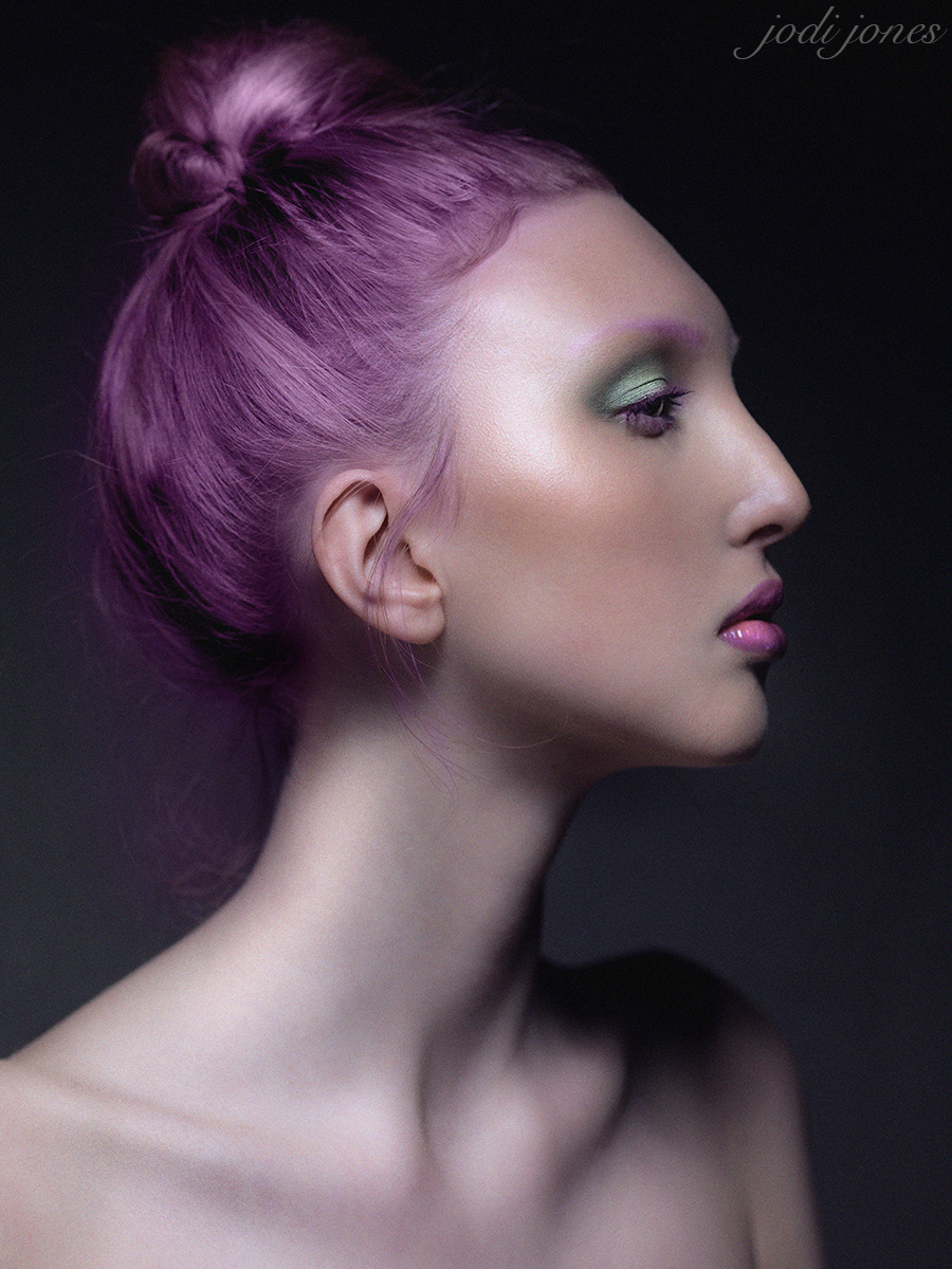 purple hair beauty shot