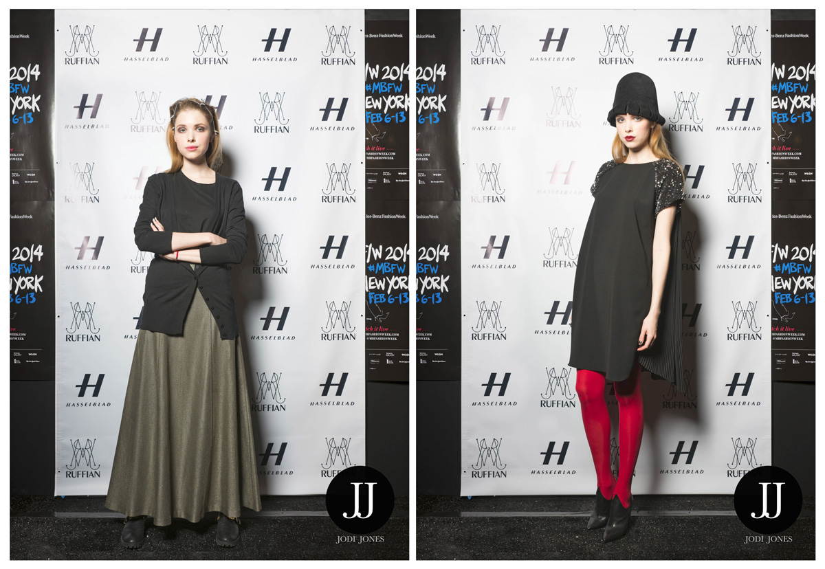 Model before and after backstage of the Ruffian Fall 2014 Fashion Show in New York.