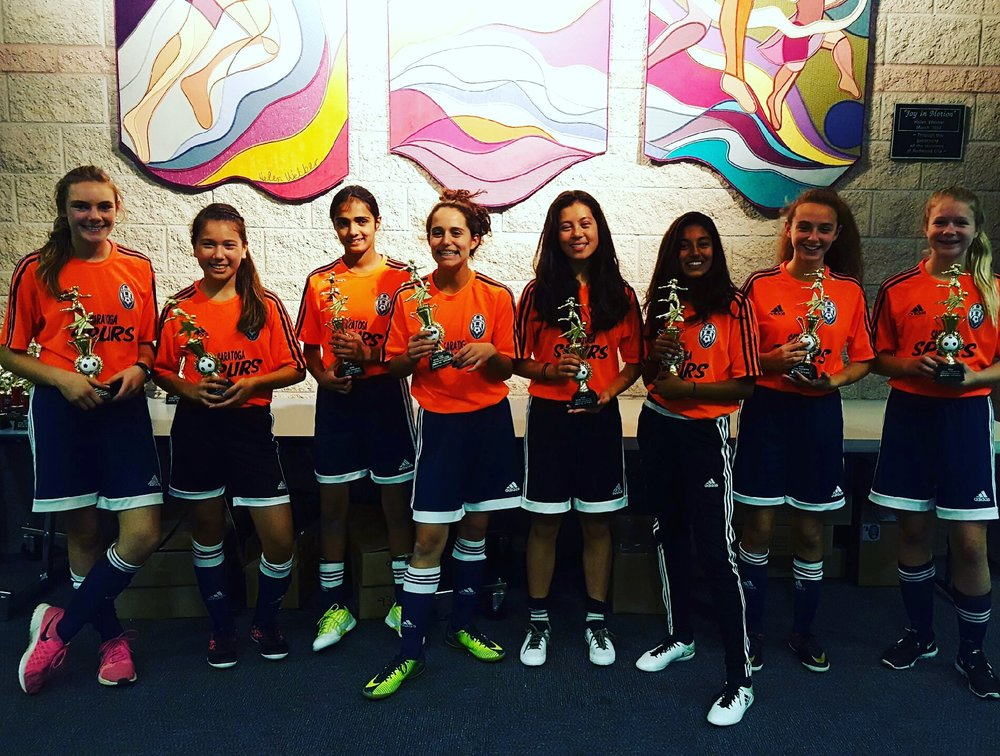 The ProUSA Coached Saratoga Spurs 03G Took 1st Place In Redwood City's Turkey Tournament At Redmorton Community Center, Thanksgiving 2016!