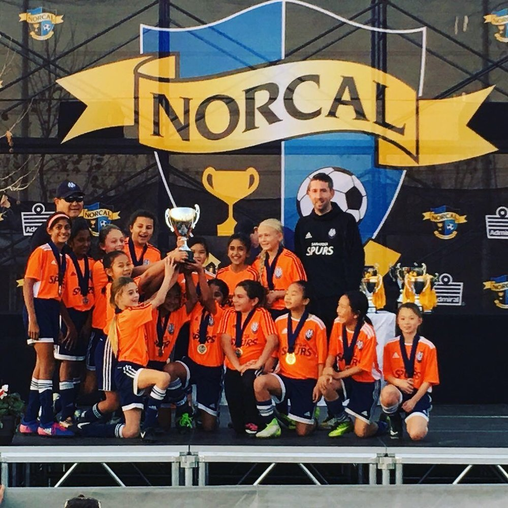 Saratoga Spurs 07G celebrate winning NorCal Gold State Cup in Modesto with Coach Andrew McRobbie!