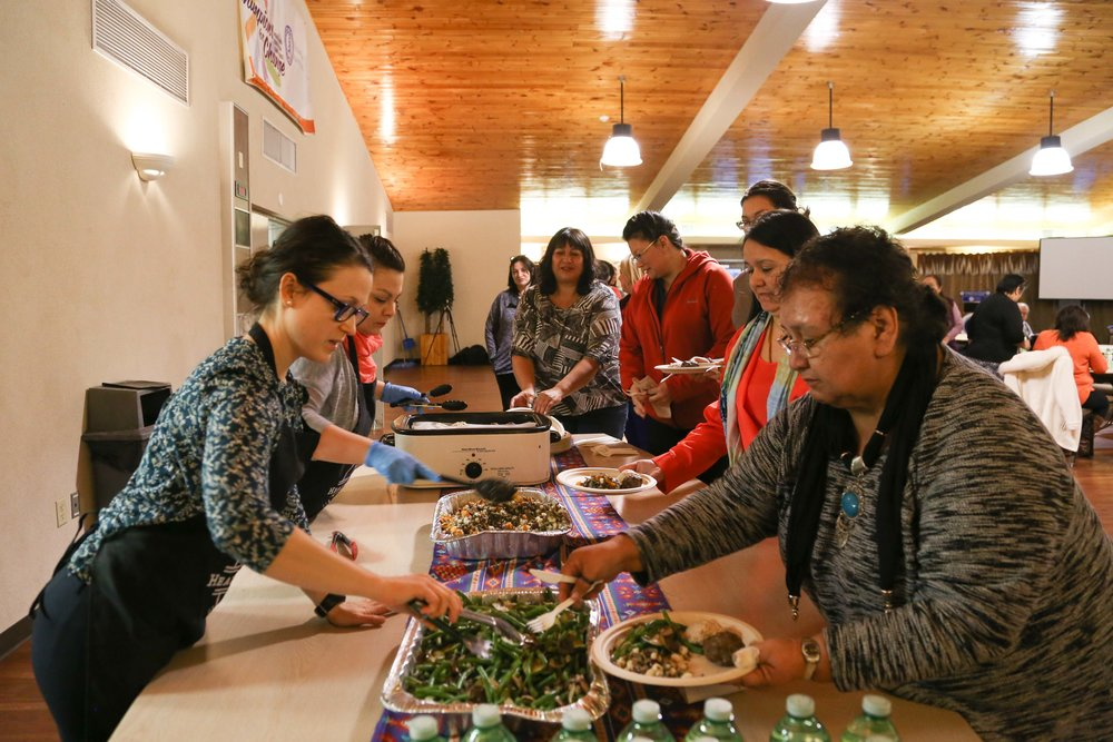 Serving traditional foods at the Six Nations Health Services.