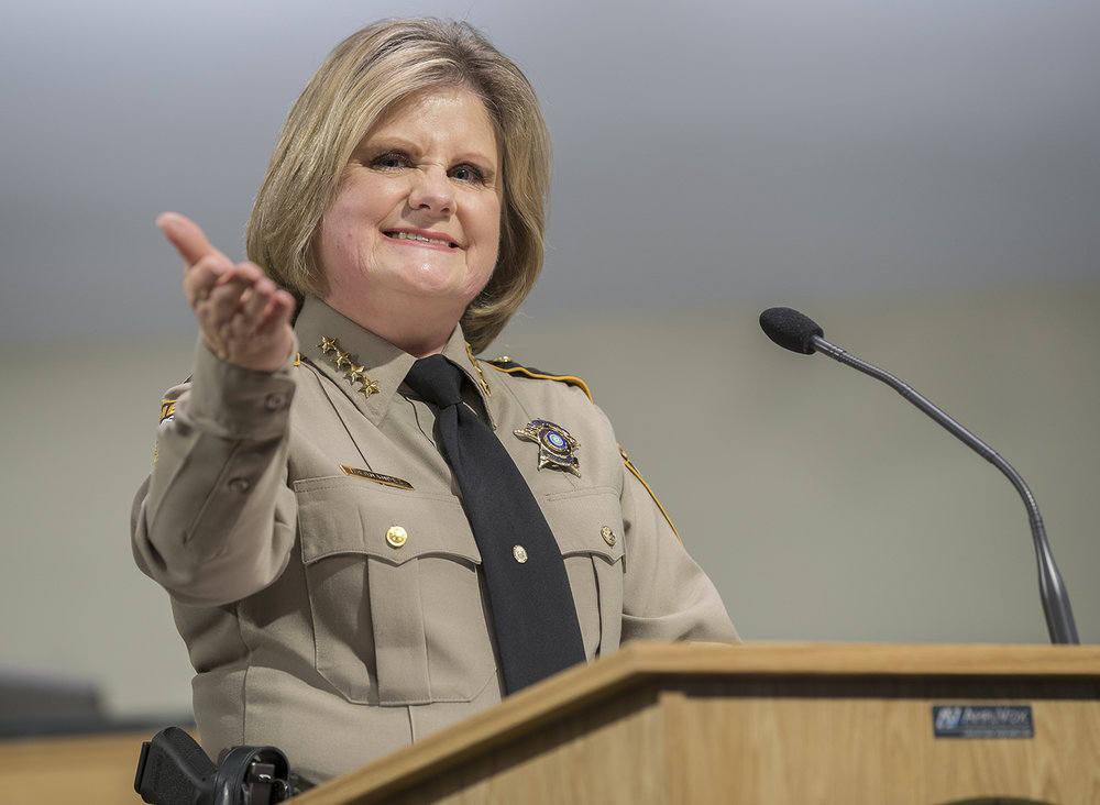 Sheriff Sally Hernandez speaks during the Oath of Office Ceremony at the Travis County Commissioners court on Wednesday, Jan. 4, 2017. RICARDO B. BRAZZIELL/AMERICAN-STATESMAN
