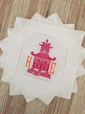 monogrammed linen cocktail napkins set of 4 pagoda monogram - Linen Monogrammed Napkins