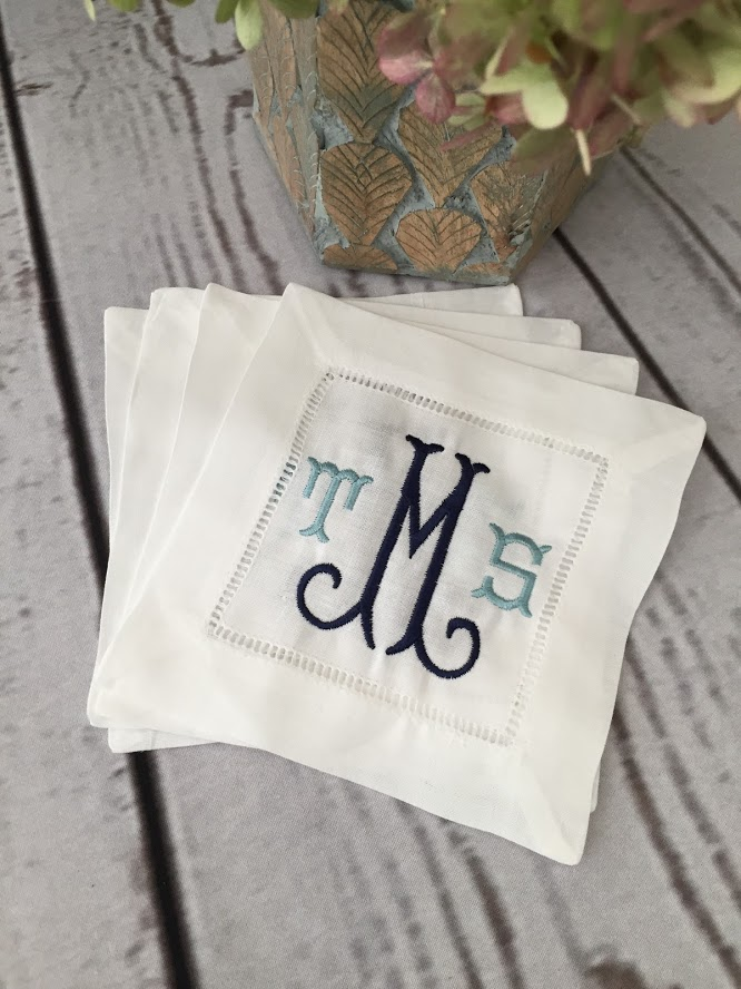 monogrammed cocktail napkins set of 4 charlotte monogram