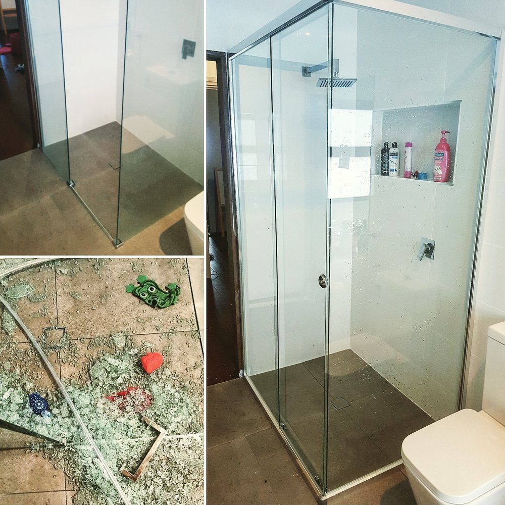 The completed shower screen from the news article that we installed safely with WA processed glass.