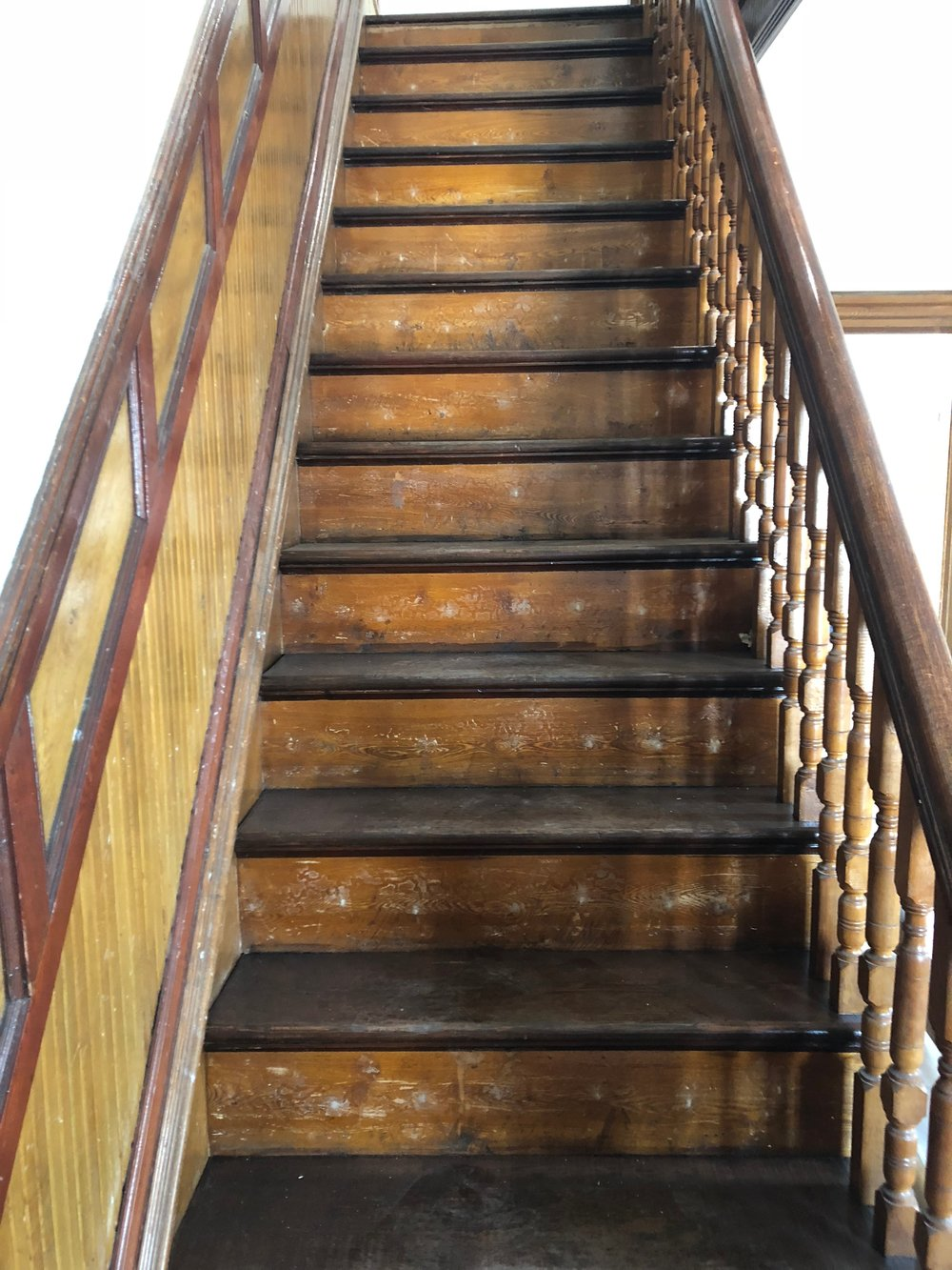 Stripped & stained stairs