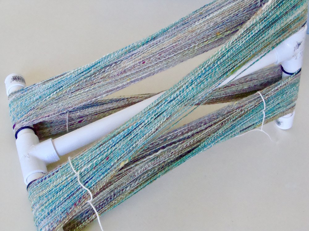 handspun yarn-2ply-niddy noddy-pvc pipe