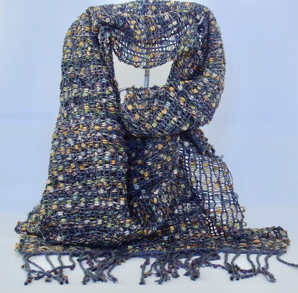 bead leno lace woven scarf