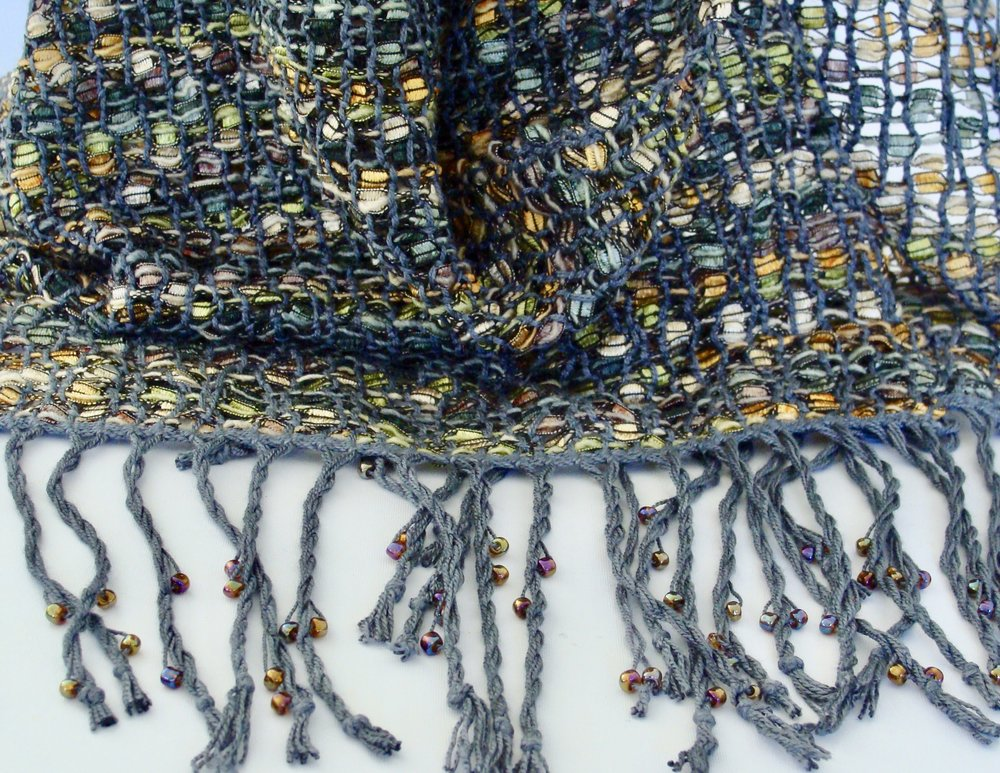 beaded fringe on woven leno lace scarf