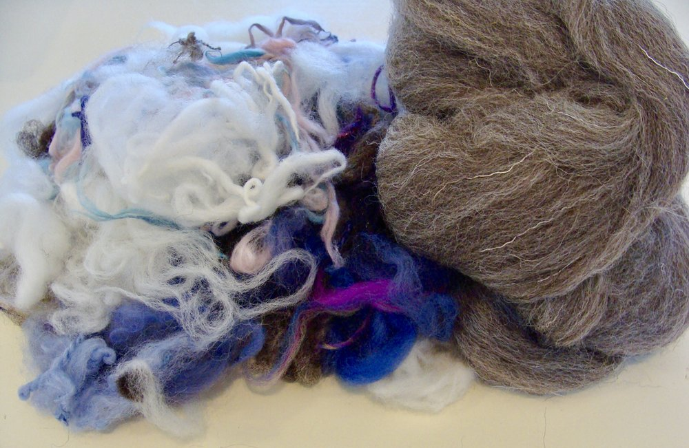jacob wool top and stash scrap fibers