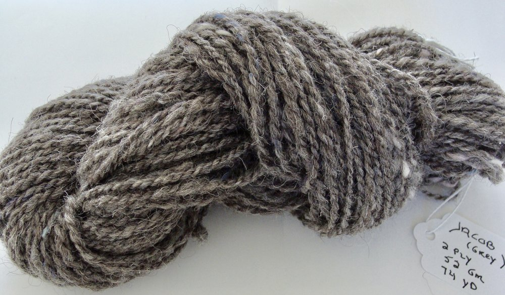 Jacob 2 ply handspun yarn after finishing