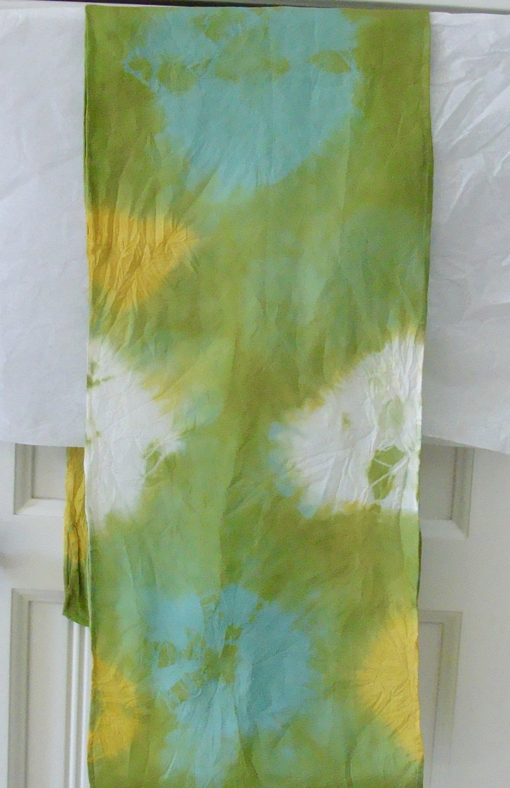 marigold & saxon blue naturally dyed silk scarf
