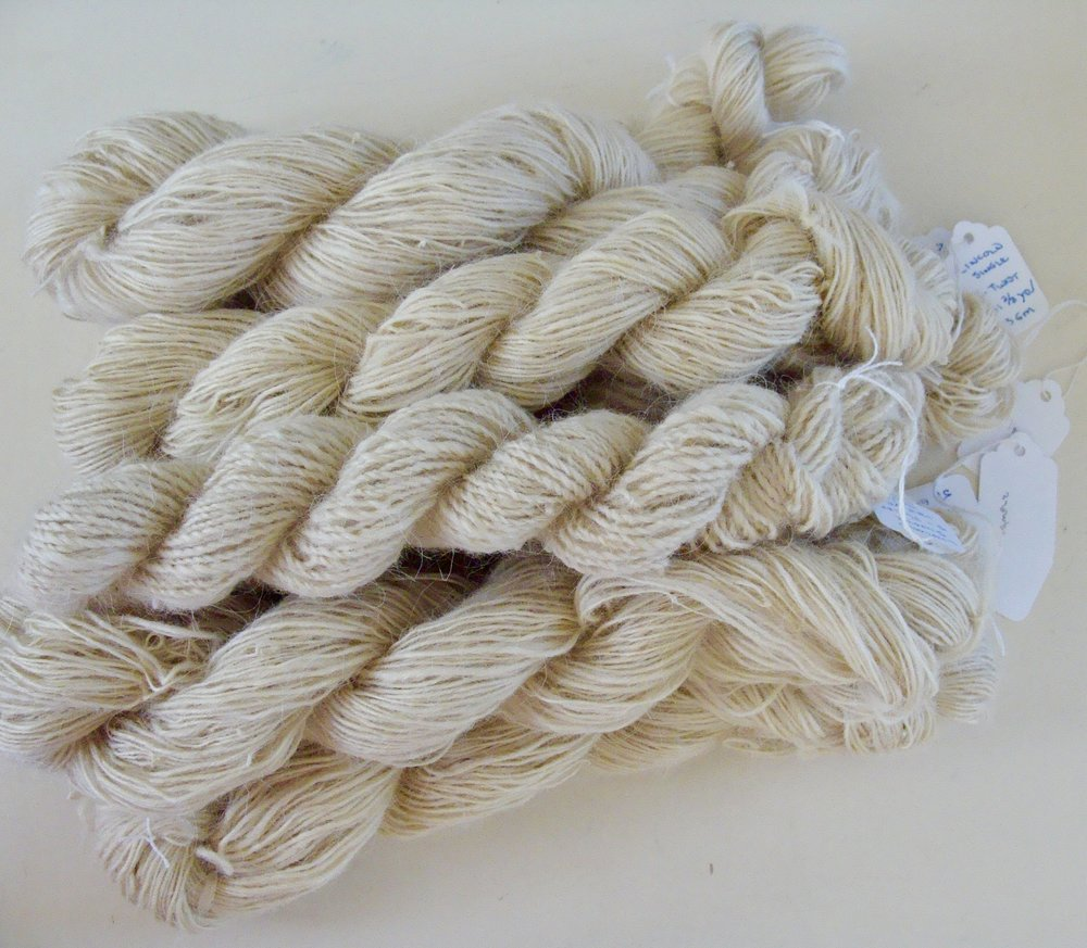 Lincoln Longwool handspun yarn for rug project