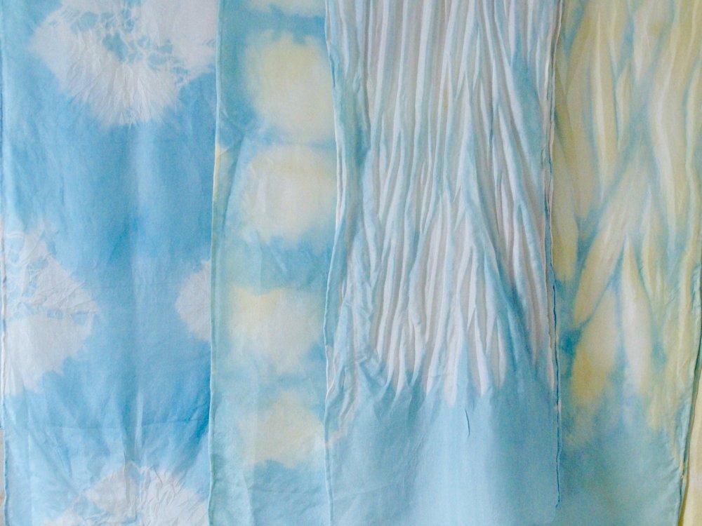 Arashi Shibori - Hand Dyed Habotai Silk Scarf