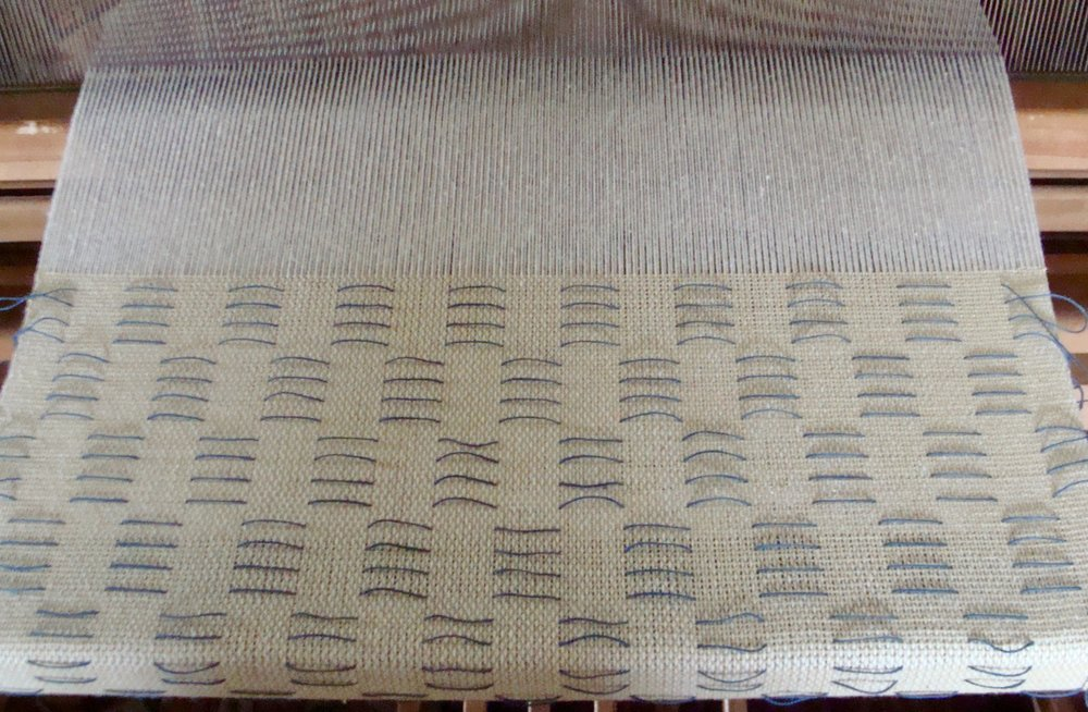 woven shibori on the loom