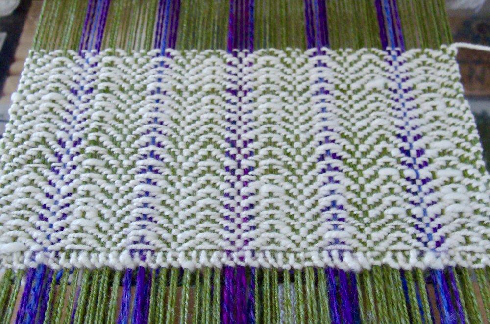 weaving handspun scarf on Jane Table Loom