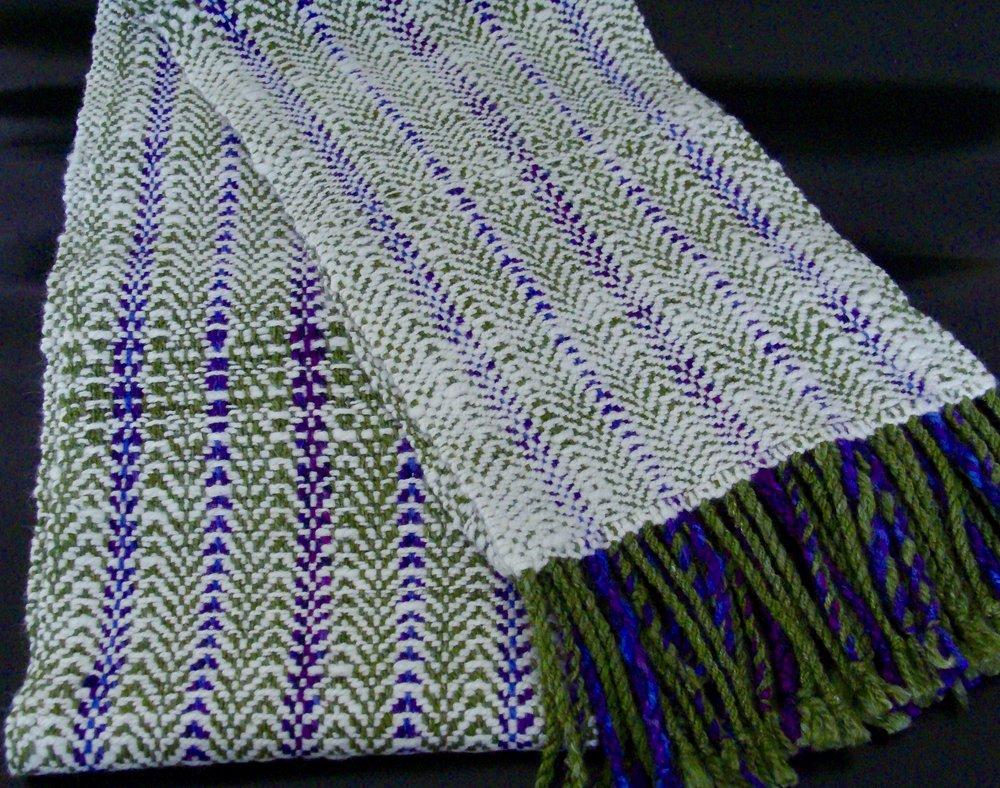 finished handwoven scarf of handspun merino/silk yarn
