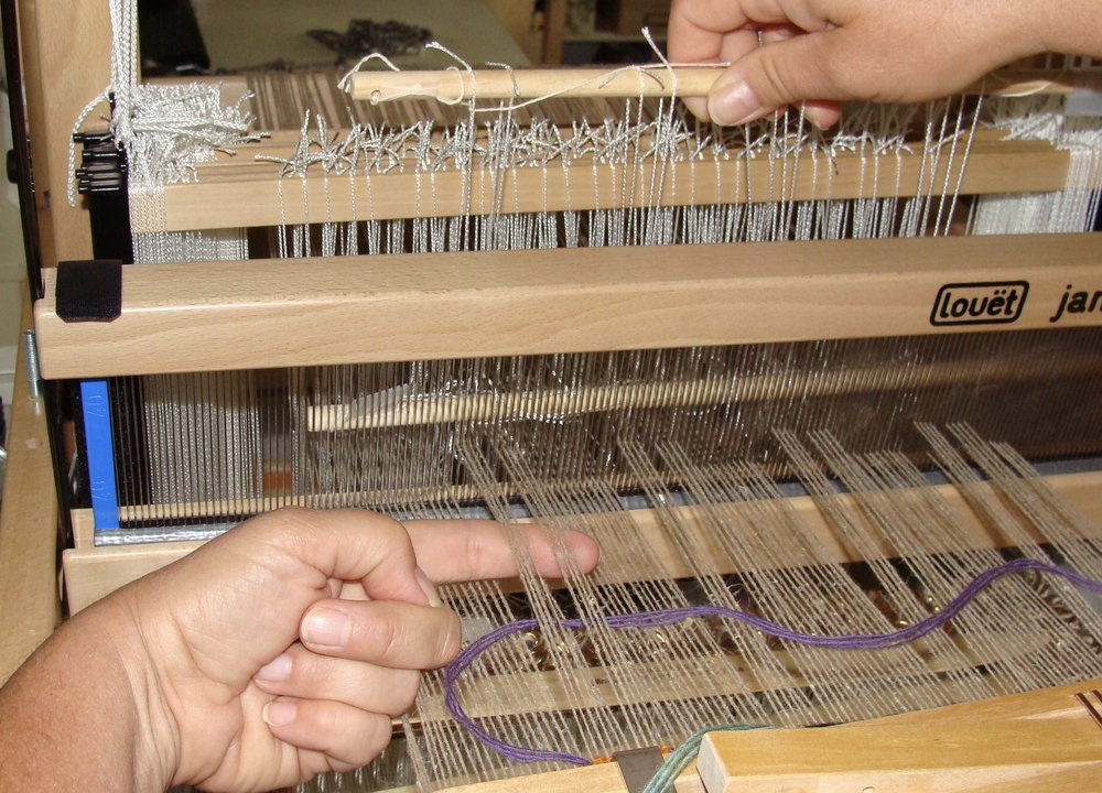Half heddle rods for weaving Monks Belt