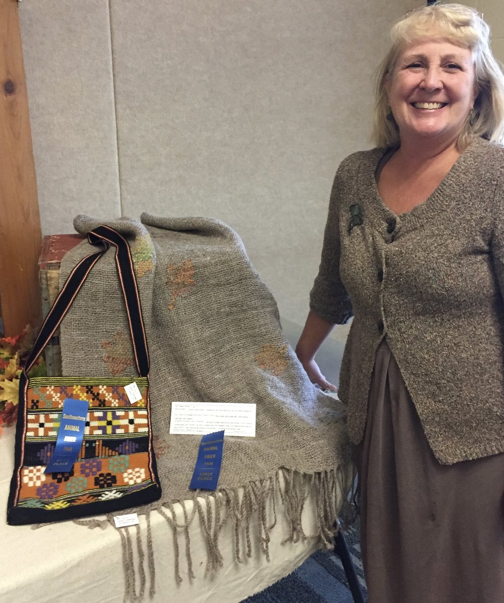 two blue ribbons at 2017 SAFF in weaving