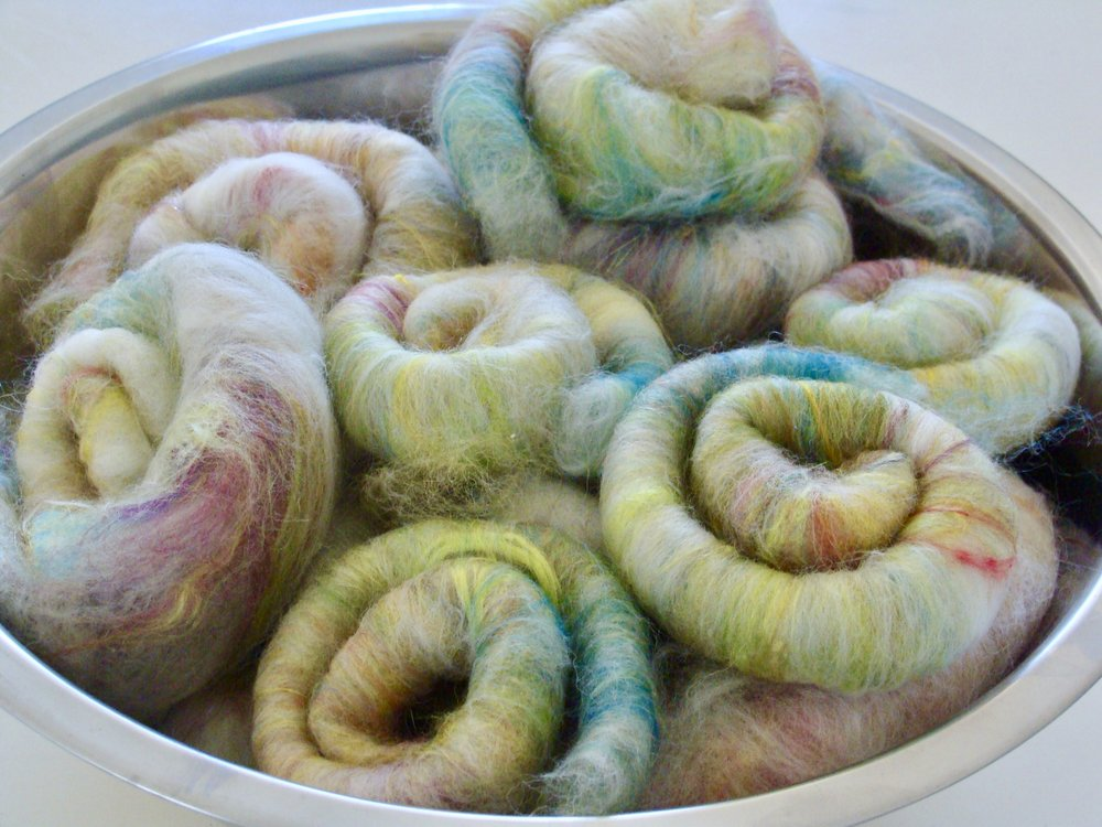 hand blended and carded rolags - mixed fibers