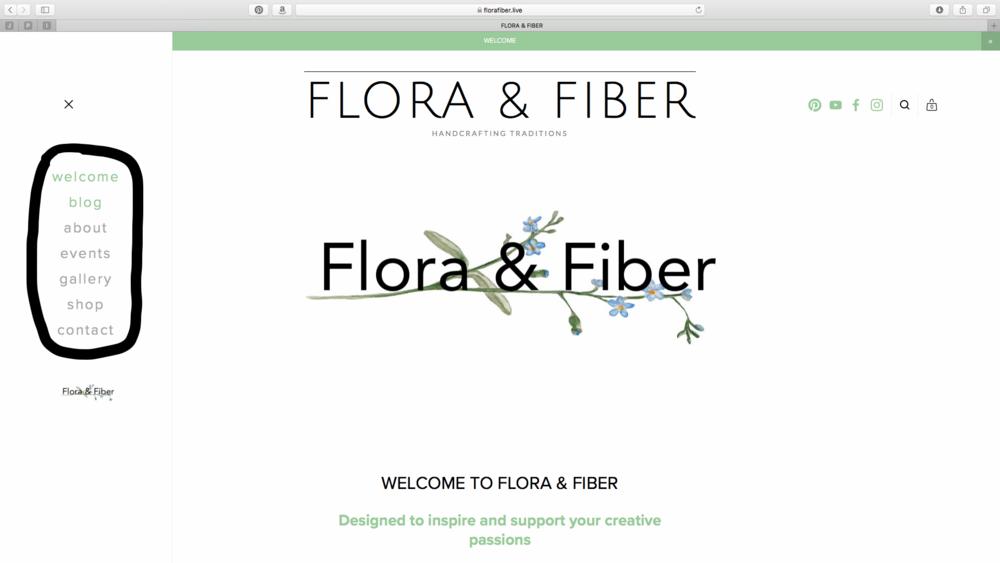 Flora & Fiber Welcome Page w/menu