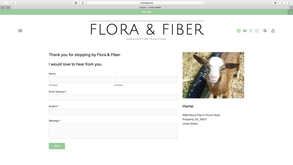 Contact Page - Flora & Fiber website