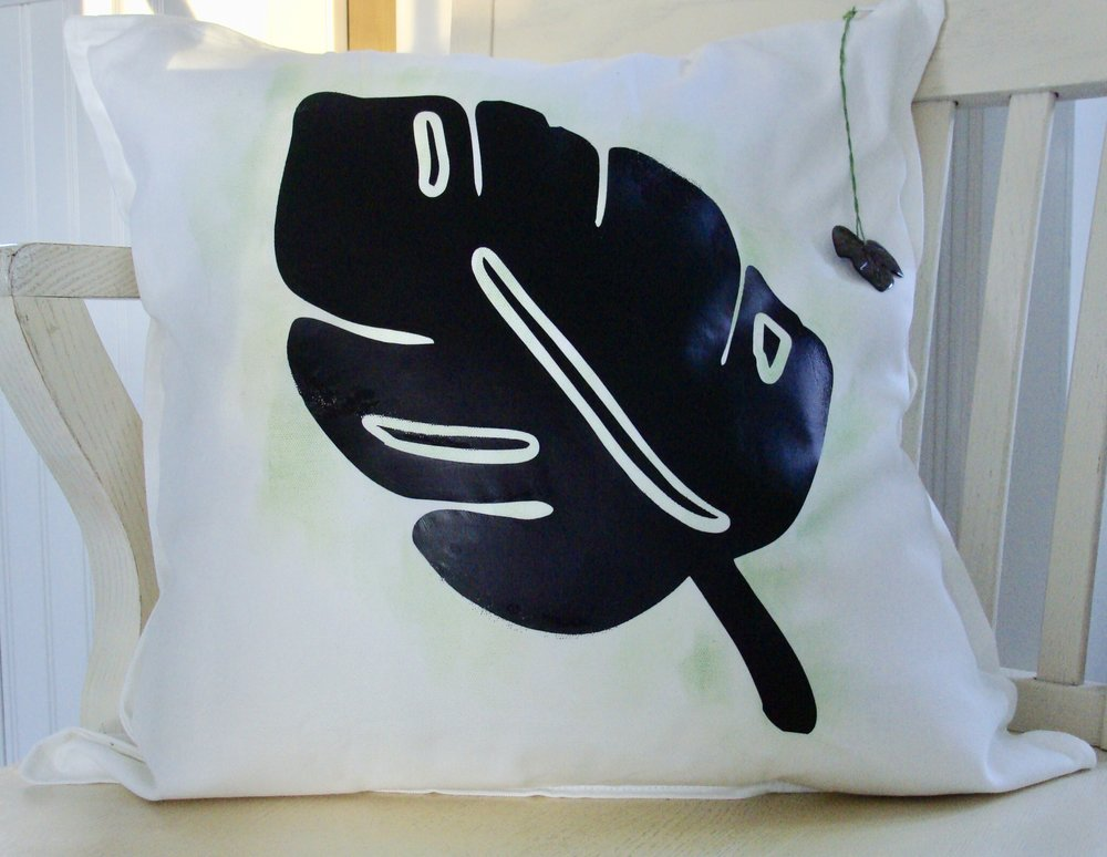 Summer Tropical Leaf Pillow
