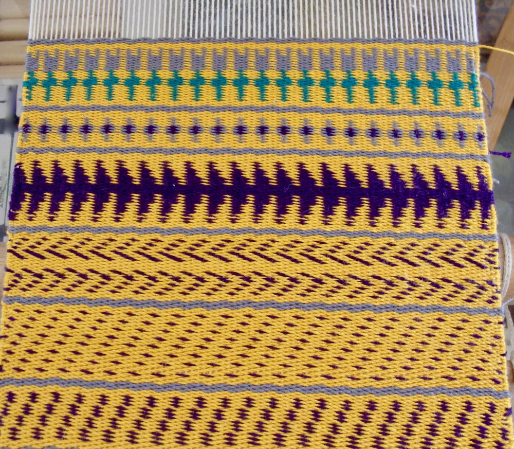 Sampler III Twill 2/2 weft faced on loom