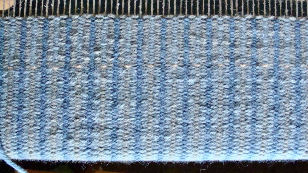 krokbragd rug on loom