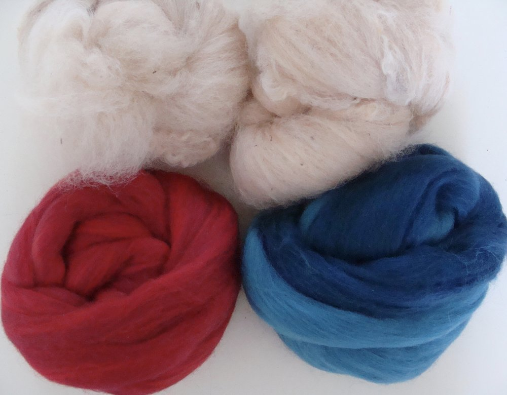 carded alpaca and 2 colors of merino top