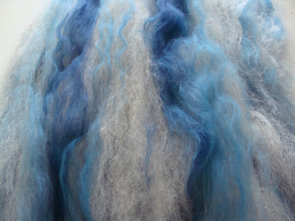 Blended alpaca-merino first time through drum carder
