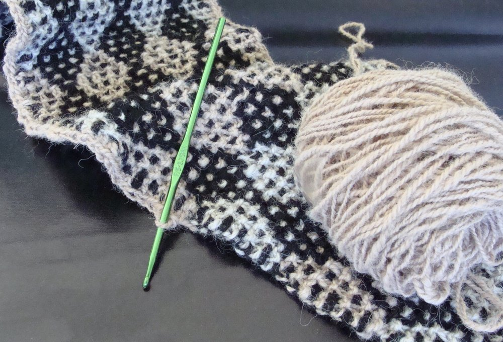 crochet edge on knitted handspun alpaca neck warmer