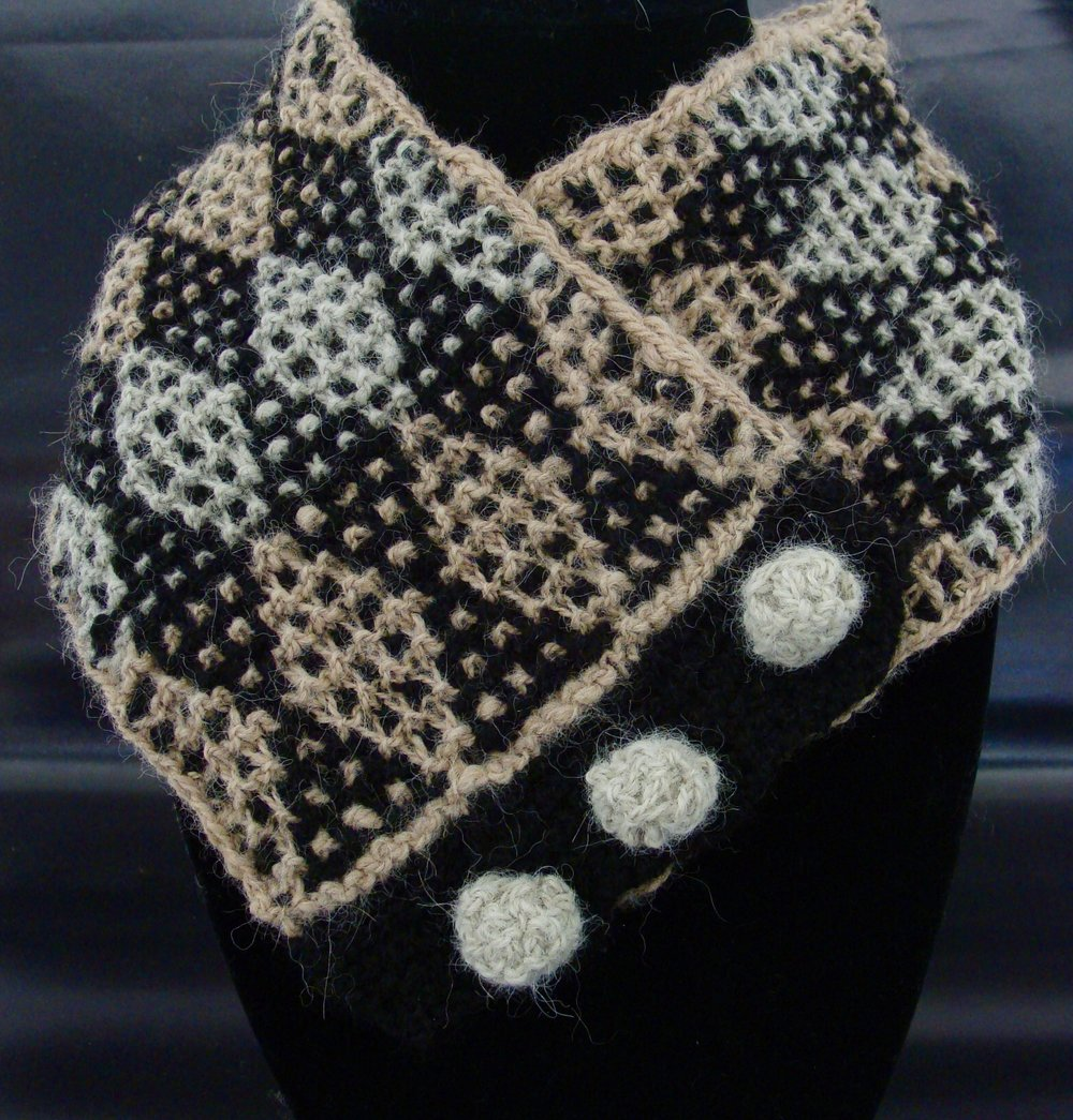 knitted handspun alpaca neck warmer