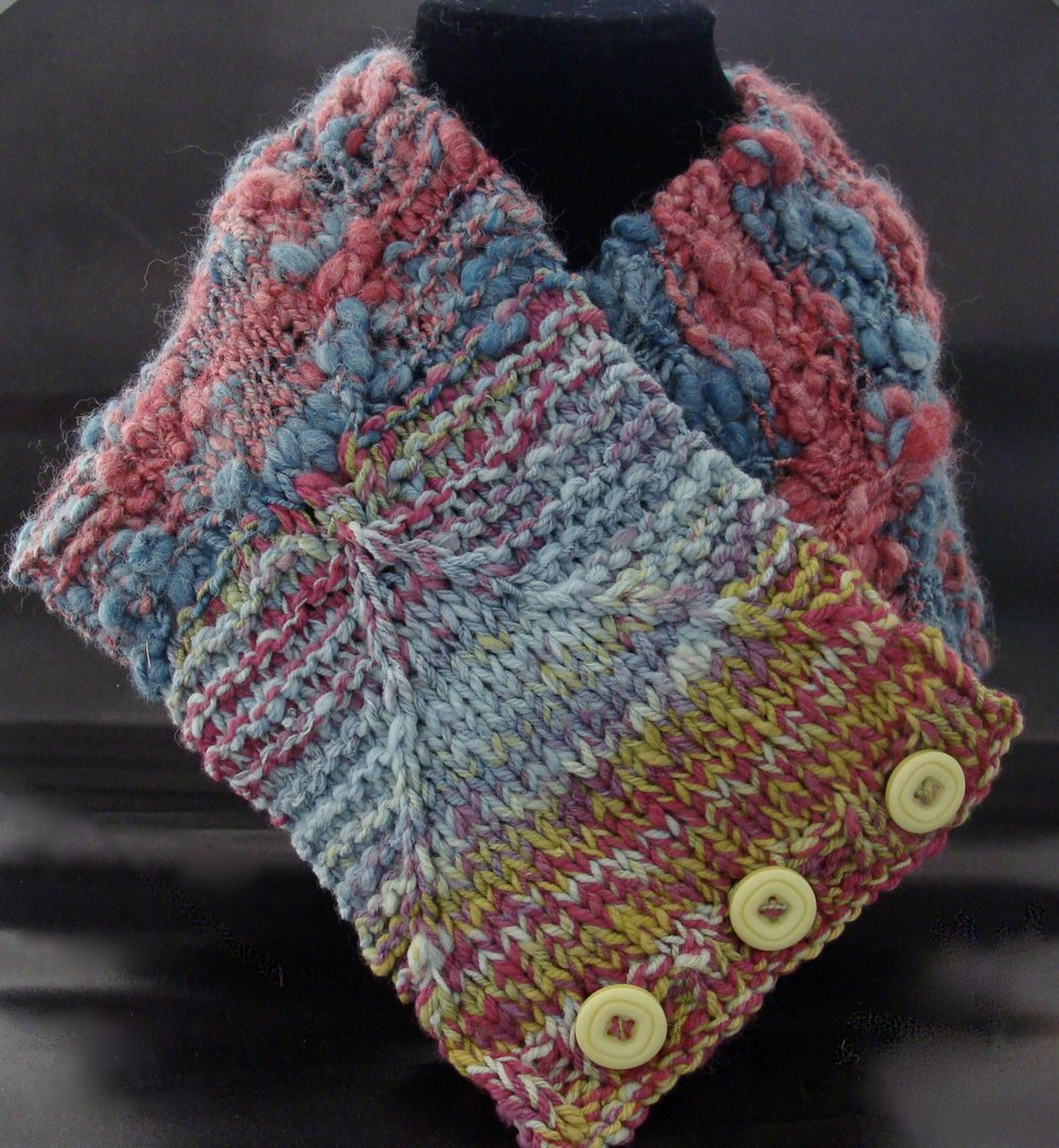 handspun, knitted cowl for the Crayon Project