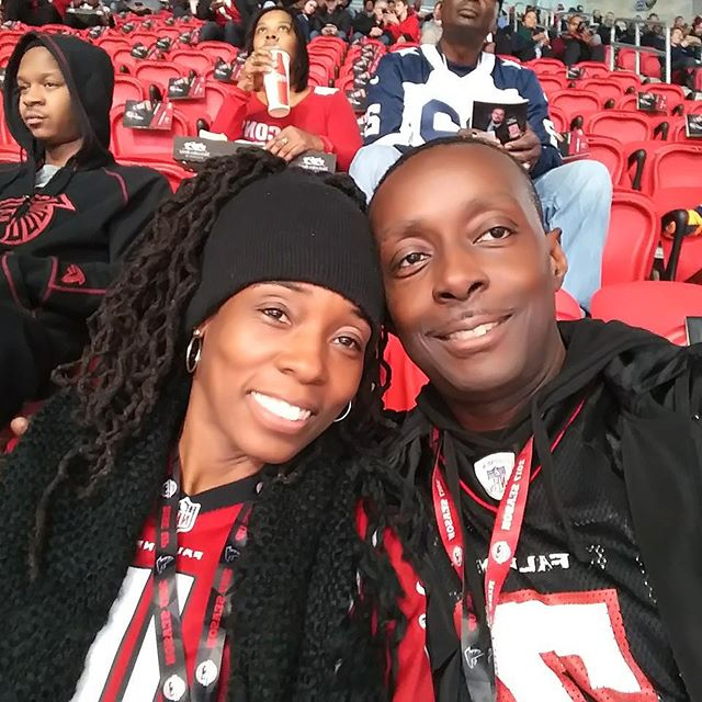 Coaches Corner AAD CEO's celebrating 20 years of marriage at the Falcons game!!
