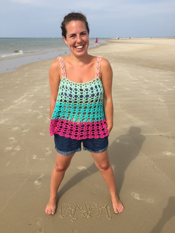 A sneaky little outtake from our photoshoot of the  Cape Cod Color Block Tank  pattern that launched this summer!