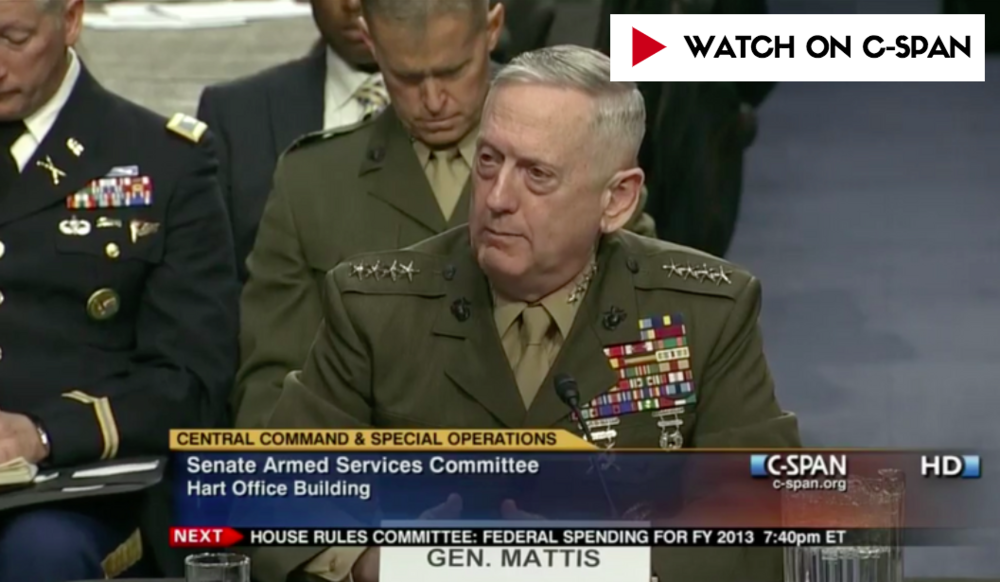 """""""IF YOU DON'T FUND THE STATE DEPARTMENT FULLY, THEN I NEED TO BUY MORE AMMUNITION...""""  -  Then-General James Mattis in March 2013 testimony to the Senate Armed Services Committee"""