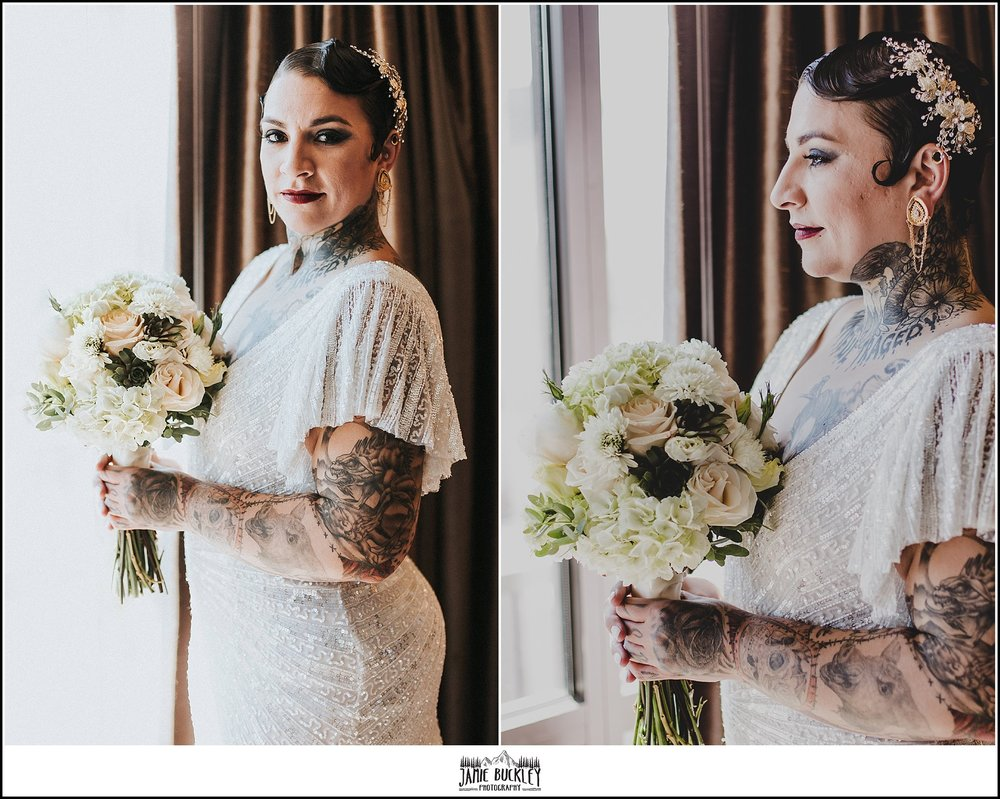 the bride in her wedding dress with flowers