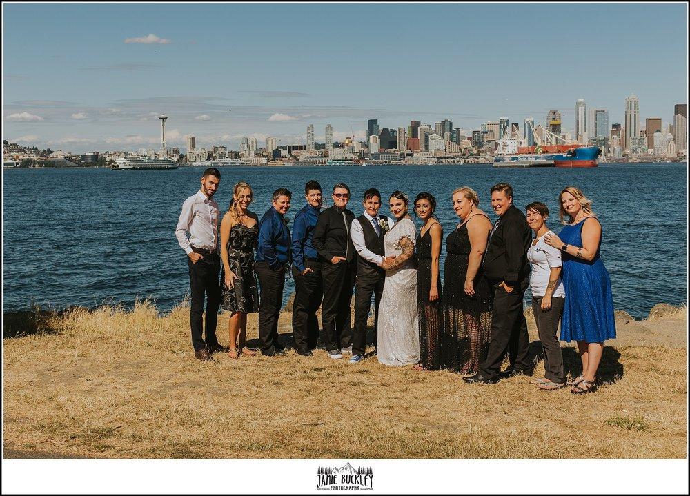 the bridal party at alki beach