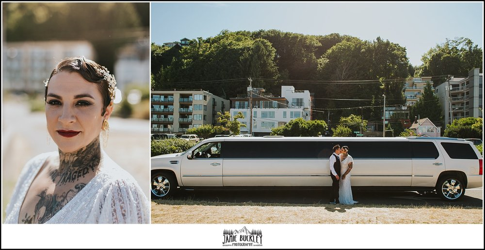 the brides and their stretch limo