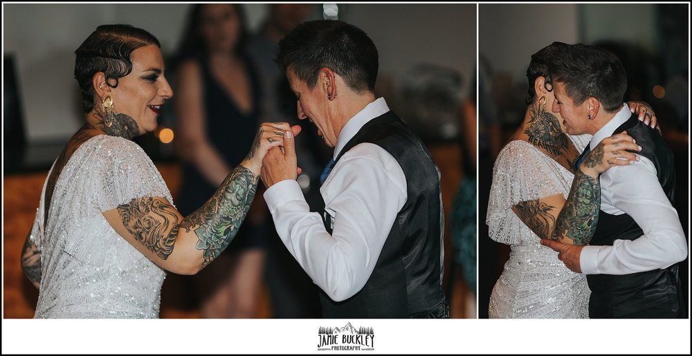 the brides sharing their first dance