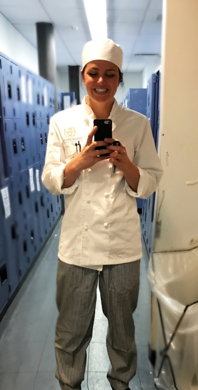 April 2017: First day of culinary school!