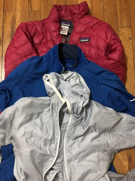 I love these jackets for layering. The first (light grey) seems like nothing, but it provides a wind barrier and a little warmth. The second is a zip-up athletic layer for added warmth. The last (in pink) is my down jacket, which I used at Poon Hill and at Base Camp, but once we started hiking it was too warm for me.