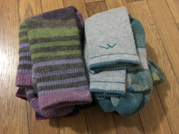 I'm a big fan of DarnTough socks, but any wool hiking socks will work. Wool is good for moisture and odor control.