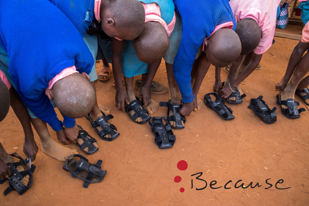 Students with their new pair of The Shoe That Grows. We will distribute these shoes while in Tanzania.